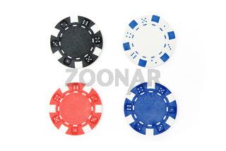 Vier Pokerchips