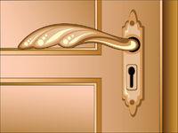 Vector brown door with handle
