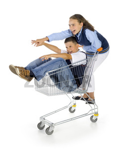 School boy and girl with trolley