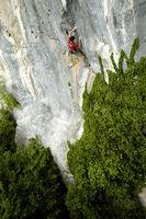 Roman Zehentner klettert an der wild verwachsenen