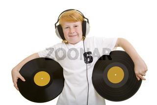 Zwei Schallplatten tragen