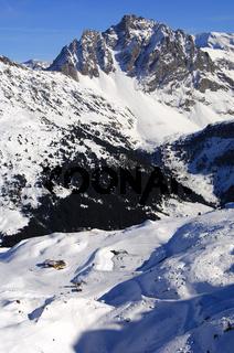 Im Skigebiet Trois Vallees, Savoyen, Frankreich