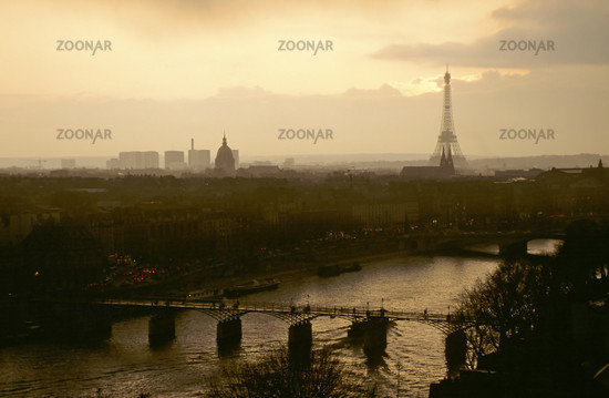 seine, seinebruecke, bridge, ausblick, lookout, view, abendstimmung, evenning mood, blue our, paris, frankreich, france