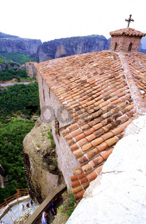 High section of St. Stephens Monastery rooftop, Meteora, Greece
