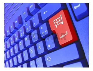 blaue tastatur warenkorb