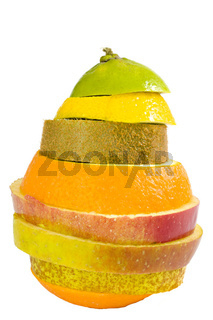 a new fruit composed of kiwi, orange, apple, lime and lemon slices