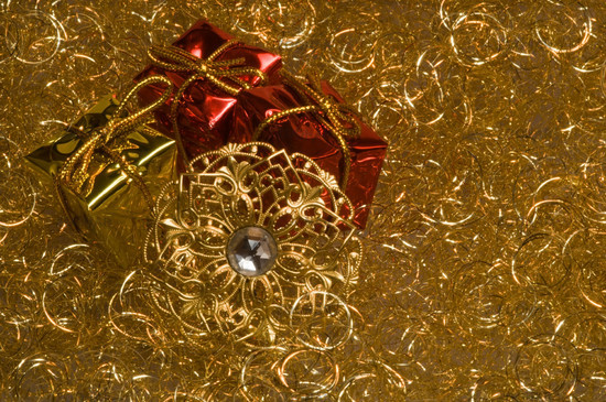 christmas decoration on a gold angel hair - Angel Hair Christmas Decoration