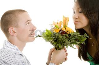 Blumenduft riechen