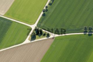 Luftaufnahme,aerial-photo,schraegsicht,nachmittags,Landwirtschaft,agriculture,Strukturen,Wege,Muster,