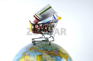 Cart on a globe with medicine | Einkaufswagen auf einem Globus