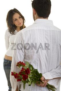Mit roten Rosen überraschen