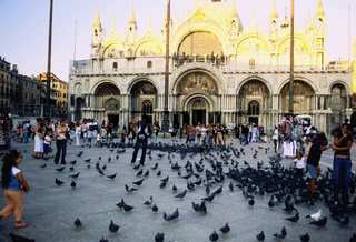 Basilica di San Marco Saint Mark basilique religion, Ornate stone building with pigeons and tourists, Venice, Italy