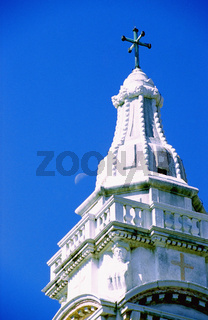 A church tower top with moon, Church spire with moon behind, Venice, Italy