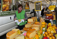 Cheese stall at the cheese market, Gouda, Netherlands