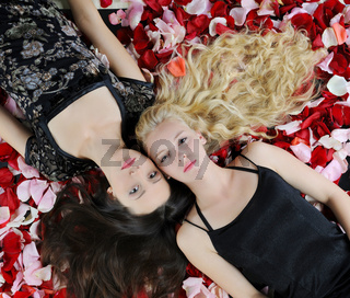 beautiful women in rose petals