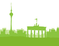 Berlin, abstrakt skyline in green