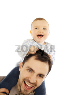 Happy man and his baby with focus on baby