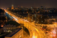 City of Warsaw at night in Poland