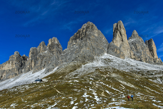 South face of the Three Peaks Mountains, Tre Cime di Lavaredo, Drei Zinnen, Sexten Dolomites, Italy