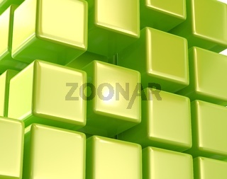 Green abstract cubes block array 3d illustration