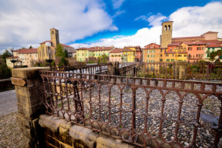 Cividale del Friuli skyline and devil's bridge above Natisone river view