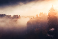 Misty morning in the Elbe Sandstone Mountains