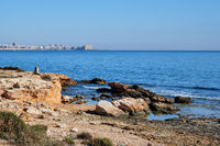 Rocky coastline of Torrevieja. Costa Blanca. Spain