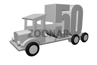 die zahl fünfzig - 50 - auf der Ladefläche eines alten lkw - 3d illustration