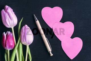 Flowers and heart shaped paper notes