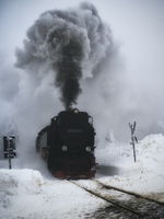 With the steam train on the Brocken summit, Harz Mountains, Germany