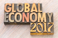 global economy 2017 - word abstract in wood type