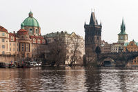 Boat on River and Charles Bridge