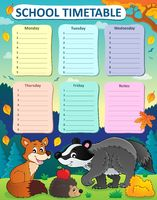 Weekly school timetable subject 1 - picture illustration.