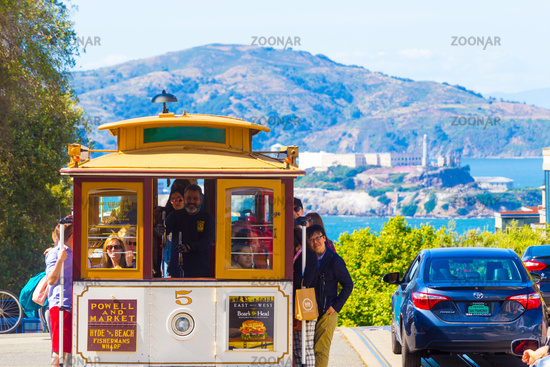 SF Cable Car Top Hyde Street Overlooking Alcatraz
