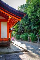 Temple in Maruyama garden, Kyoto, Japan