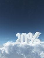 die zahl zwanzig und prozentzeichen auf wolken - 3d rendering