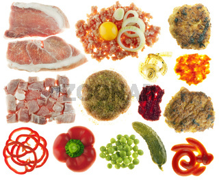 Set of components for cooking and eating of cutlets