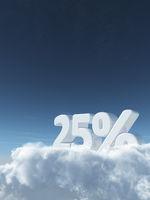 die zahl fünfundzwanzig und prozentzeichen auf wolken - 3d rendering