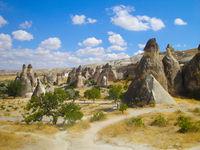 Cappadocia landscape, sandstone rocks in Turkey