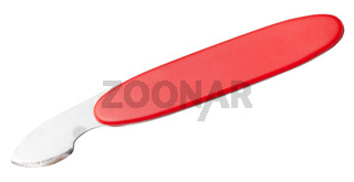 knife with red handle for opening cover of watch