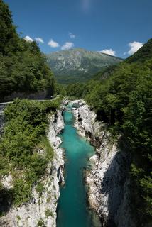 Mountains river Soca in Julian Alps, Slovenia