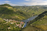 The town of Pinhão surroujnded by terraced vineyards in the Douro Valley, Pinhão, Portugal