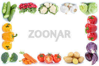 Gemüse Karotten Tomaten Paprika Salat Kartoffeln Rahmen Textfreiraum Copyspace Essen Freisteller