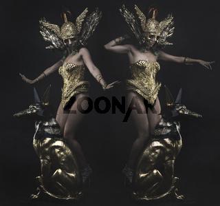 Divine, Deity, beautiful woman with green hair in golden goddess armor. Fantasy warrior