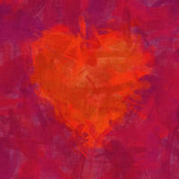 red heart brush stroke background
