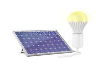 Solar panel and glowing light bulb