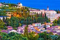 Verona city walls and Opera Don Calabria evening view