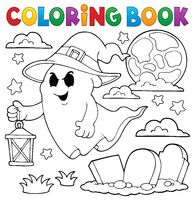 Coloring book ghost with hat and lantern