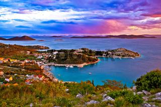Kornati islands national park archipelago at dramatic sundown view from above