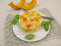 Appetizer with millet and red kuri squash